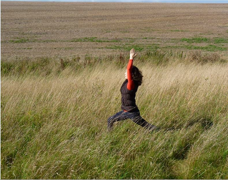 autumn yoga, warrior pose