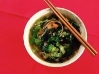 Quick soba: buckwheat, yam 'n greens broth