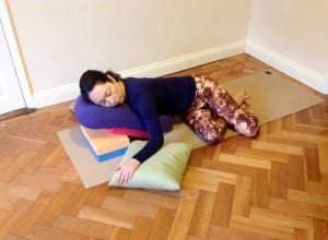restorative yoga twist, yoga for spring