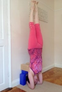 yoga headstand, sirsasana with props