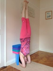 yoga headstand with blocks sirsasana